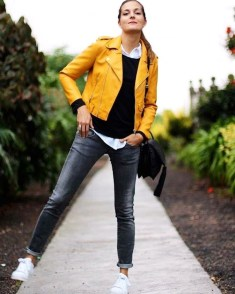 Beautiful playful chic in yellow outerwear