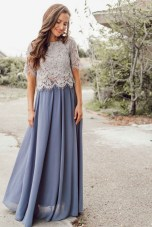 Blue full maxi skirt