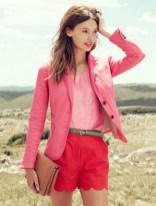 Pink blazer red bermuda pants
