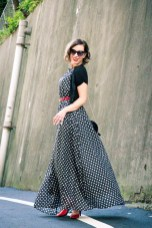 Styling a polka dot maxi dress with red accessories for summer