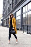 Yellow coat, spring outfit with black white shoes and black sling bag