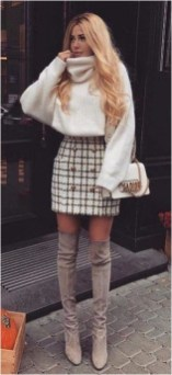 Cream sweater and black skirt with boot source 99bestoutfit com