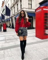 Red sweater and mini skirt with grid source fashionhombrecom