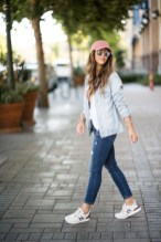 Casual look, sneakers, hat, denim jacket, comfy style, new balance