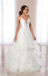 3 v neck spaghetti strap a line wedding dress with tiered tulle source kleinfeldbridalcom
