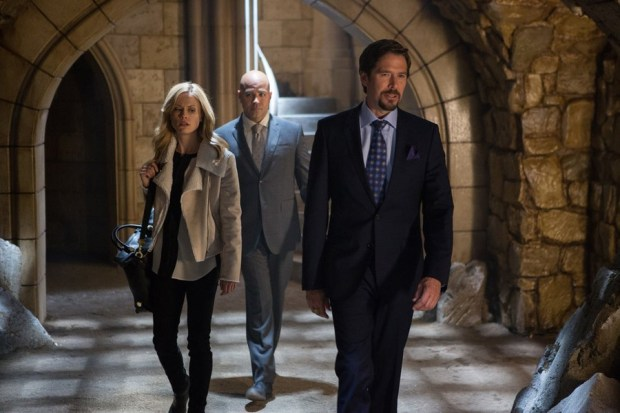 Pictured: (l-r) Claire Coffee as Adalind Schade, Philip Anthony Rodriguez as Rispoli, Alexis Denisof as Viktor -- (Photo by: Scott Green/NBC)