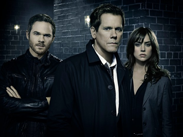 THE FOLLOWING: Mike (Shawn Ashmore, L), Ryan Hardy (Kevin Bacon, C) and Max (Jessica Stroup, R) return with a special, two-hour premiere Monday, March 2 (8:00-9:00/9?00-10:00 PM ET/PT) on FOX. ©2015 Fox Broadcasting Co. CR: Christopher Fragapane/FOX