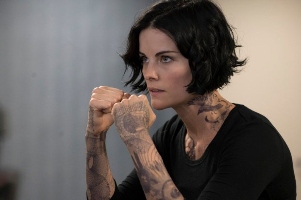 "BLINDSPOT -- ""A Stray Howl"" Episode 102 -- Pictured: Jaimie Alexander as Jane Doe -- (Photo by: Virginia Sherwood/NBC)"