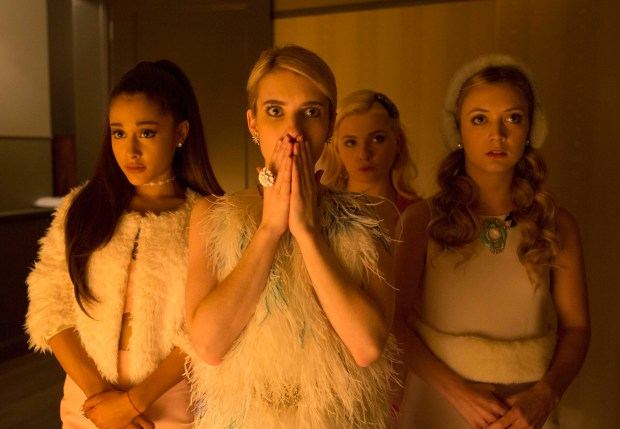 SCREAM QUEENS: Chanels on SCREAM QUEENS premiering September 2015 on FOX. ©2015 Fox Broadcasting Co. Pictured L-R: guest-star Ariana Grande, Emma Roberts, Abigail Breslin and Billie Lourd. CR: Steve Dietl/FOX