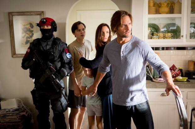 "COLONY -- ""Pilot"" Episode 101 -- Pictured: (l-r) Alex Neustaedter as Bram Bowman, Isabella Crovetti-Cramp as Grace Sullivan, Sarah Wayne Callies as Katie Bowman, Josh Holloway as Will Bowman -- (Photo by: Paul Drinkwater/USA Network)"