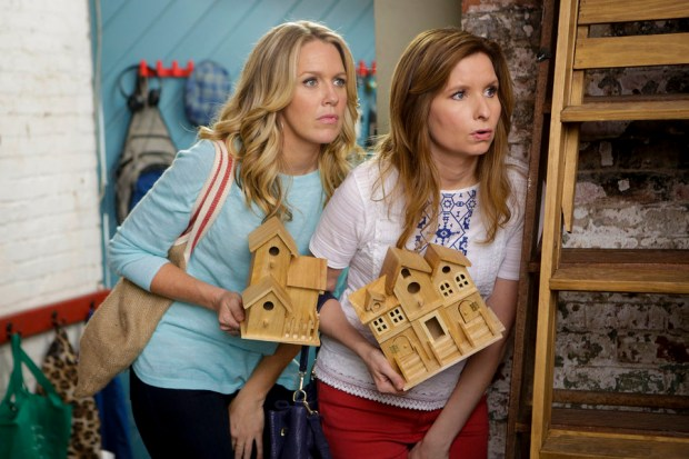 "PLAYING HOUSE -- ""Knotty Pine"" Episode 204 -- Pictured: (l-r) Jessica St. Clair as Emma Crawford, Lennon Parham as Maggie Caruso -- (Photo by: Nicole Wilder/USA Network)"