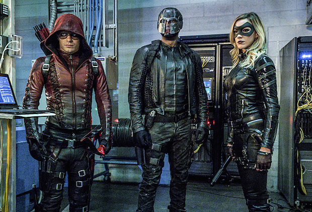 "Arrow -- ""Unchained"" -- Image AR412A_0089.jpgb -- Pictured (L-R): Colton Haynes as Arsenal, David Ramsey as John Diggle and Katie Cassidy as Black Canary -- Photo: Liane Hentscher/ The CW -- © 2016 The CW Network, LLC. All Rights Reserved."