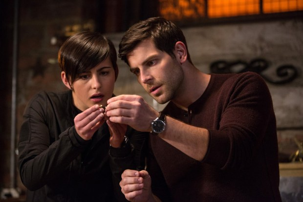 "GRIMM -- ""Map of the Seven Knights"" Episode 510 -- Pictured: (l-r) Jacqueline Toboni as Trubel, David Giuntoli as Nick Burkhardt -- (Photo by: Scott Green/NBC)"