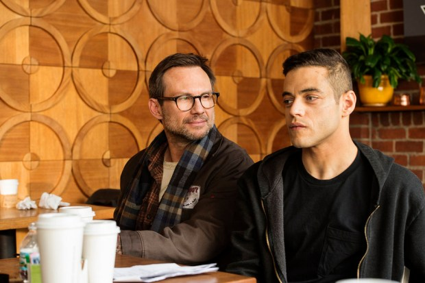 "MR. ROBOT -- ""3xp10its.wmv"" Episode 105 -- Pictured: (l-r) Christian Slater as Mr. Robot, Rami Malek as Elliot Alderson -- (Photo by: David Giesbrecht/USA Network)"