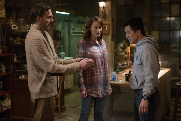 "GRIMM -- ""The Taming of the Wu"" Episode 519 -- Pictured: (l-r) Silas Weir Mitchell as Monroe, Bree Turner as Rosalee Calvert, Reggie Lee as Sergeant Wu -- (Photo by: Scott Green/NBC)"