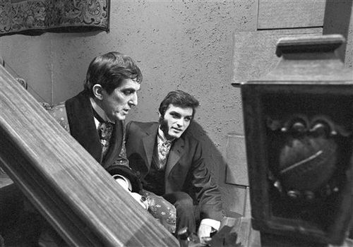 "Jonathan Frid, who plays Barnabas Collins, left, and David Selby, who plays Quentin Collins, in the Gothic soap opera ""Dark Shadows"", April 16, 1969. (AP Photo/Bob Wands)"