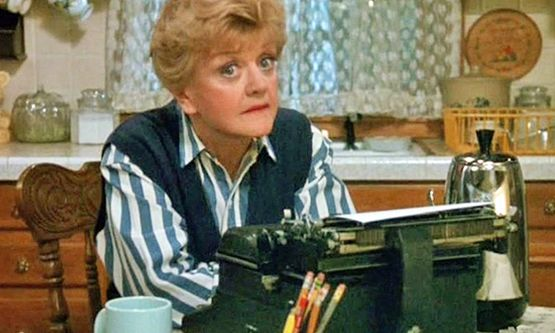 Jessica Fletcher writing Murder She Wrote