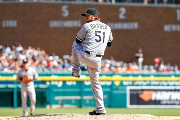 18 APRIL 2015: Chicago White Sox relief pitcher Kyle Drabek (51) is set to deliver a pitch during a regular season game between the Chicago White Sox and the Detroit Tigers played at Comerica Park in Detroit, MI.