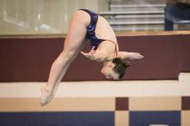 Oak Ridge's Samantha Vear competes in the District 13-6A diving championships on Friday, Jan. 20, 2017, at the Conroe ISD .