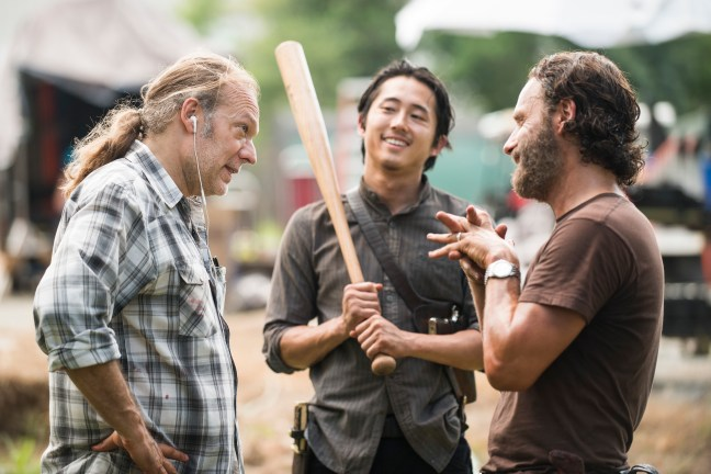 Greg Nicotero, Steven Yeun and Andrew Lincoln - The Walking Dead _ Season 5, Episode 9 _ BTS - Photo Credit: Gene Page/AMC
