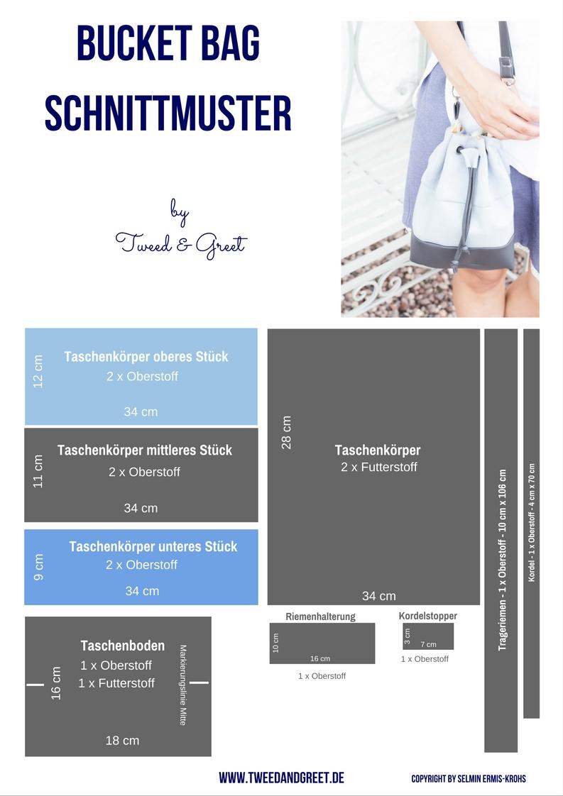 Anleitung Bucket Bag Schnittmuster - Tweed & Greet