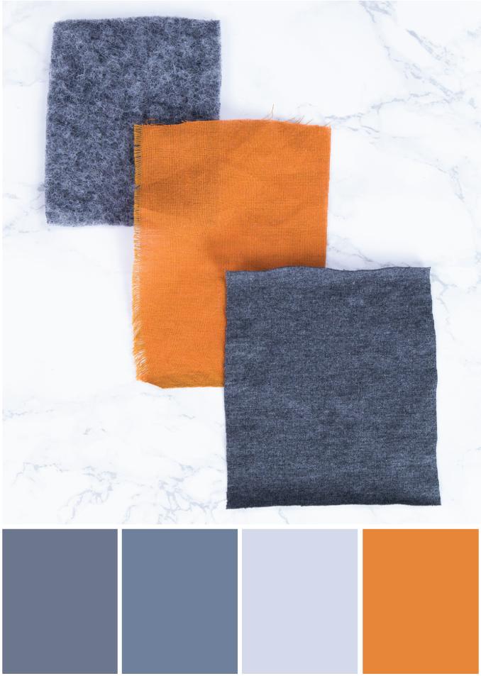 Farbpalette Grau - orange -Tweed & Greet