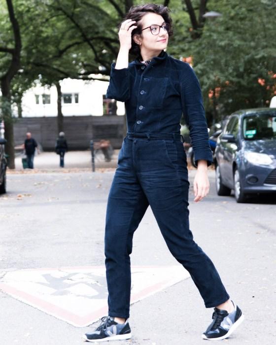 Jumpsuit nähen aus altem Anzug - Refashion aus altem Cordanzug - Jumpsuit - Tweed & Greet