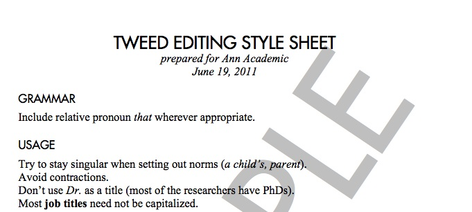 Sample Academic Editing Style Sheet