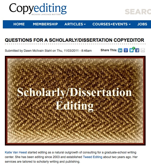 Questions for a Scholarly/Dissertation Editor