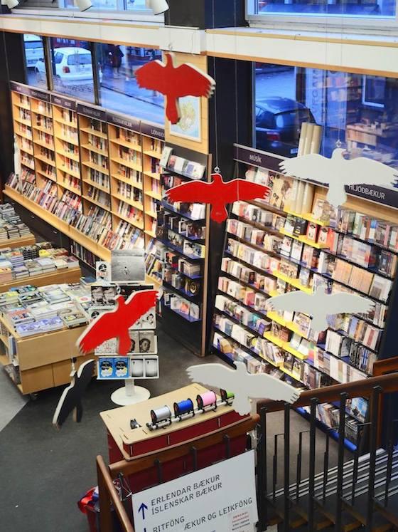 Inside an Eymundsson bookstore in Reykjavík, Iceland