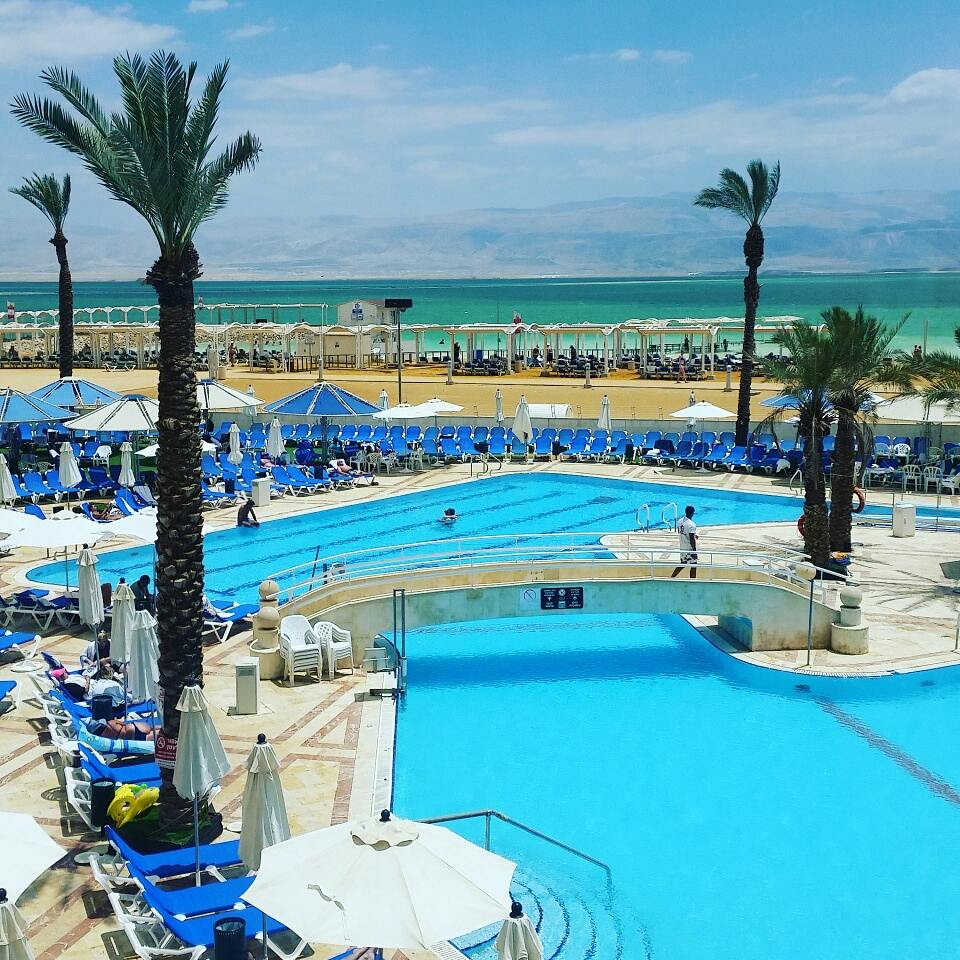 The Crowne Plaza Dead Sea Israel is a stunning hotel with its own private beach on the Dead Sea. This kosher resort has spacious rooms, a spa and two pools.