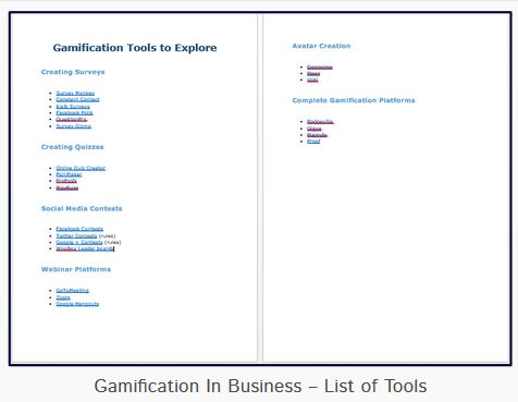 Gamification in Business list of Tools Jenny Wilmshurst