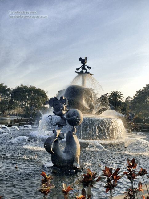 Adorable Minnie and surfing Mickey at the Grand Fountain