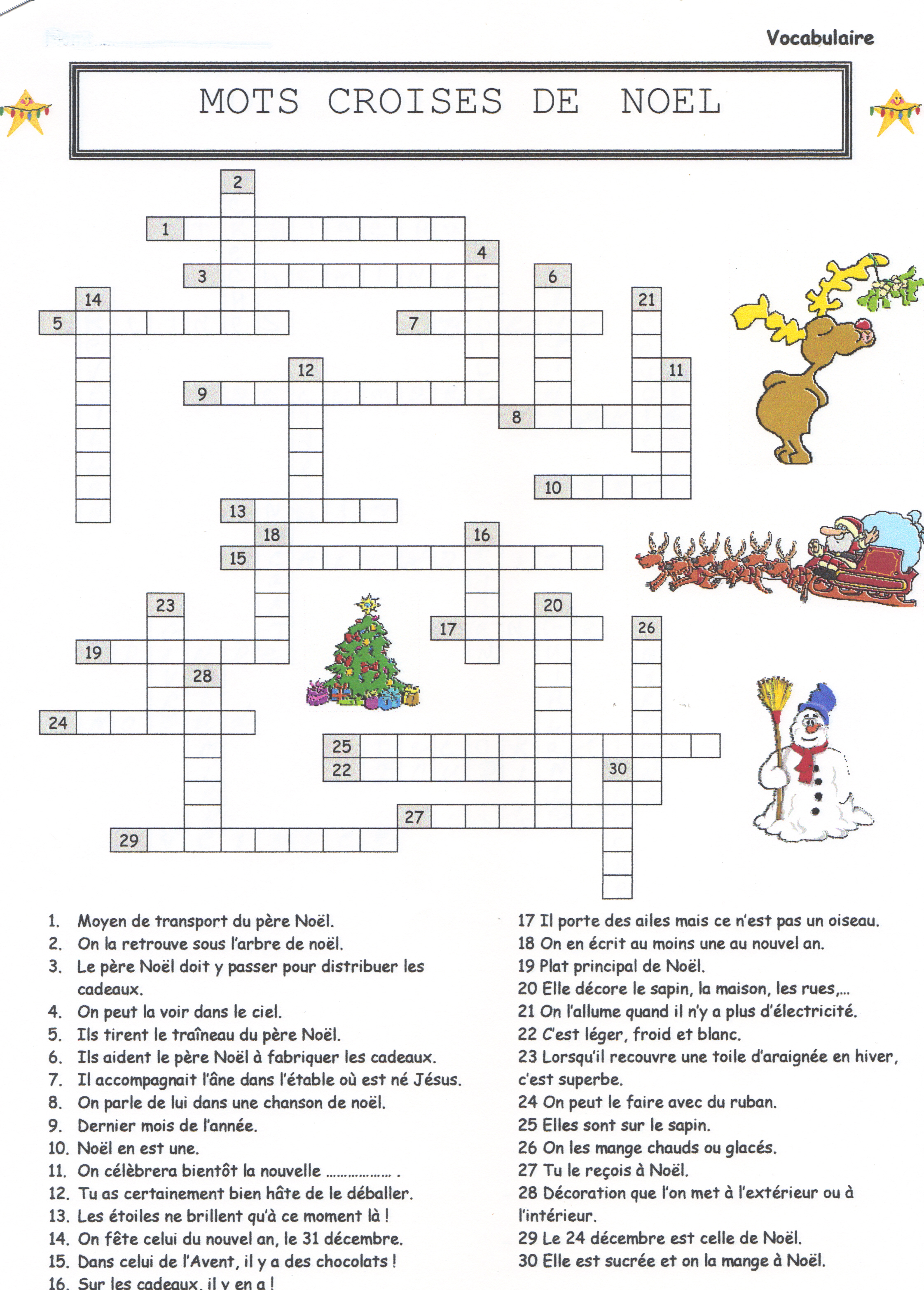 Mots Croises De Noel Christmas Crossword Puzzle