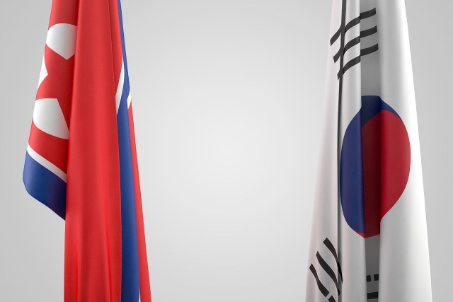 DPR and South Korea flags