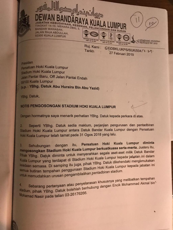 City Hall's notice to Kuala Lumpur Hockey Association