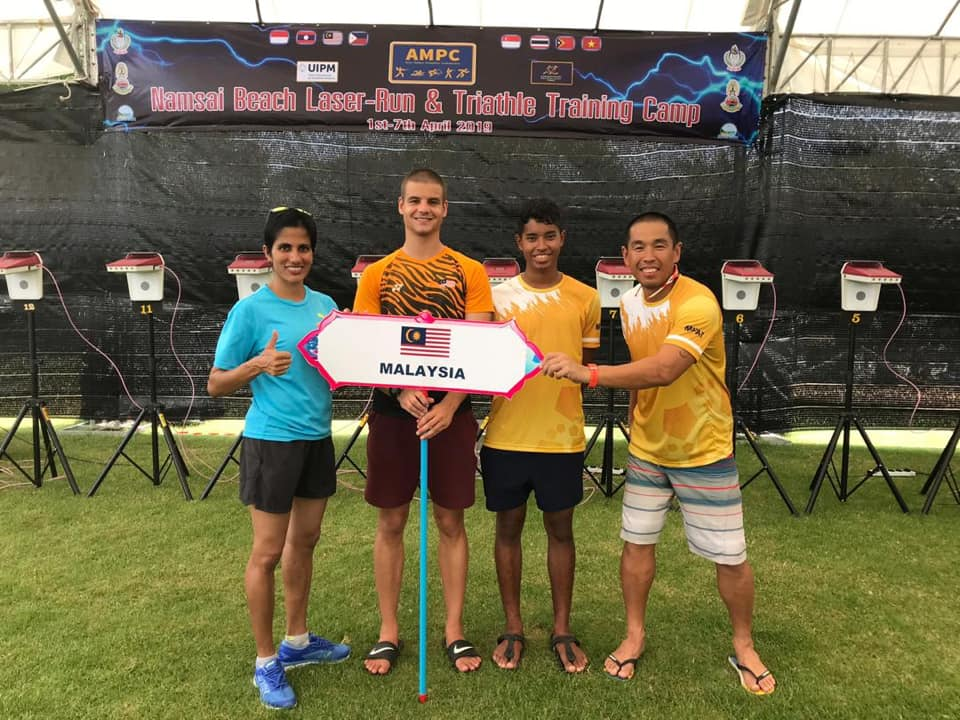 Malaysian team at Namsai Beach Laser-Run, & Training Camp