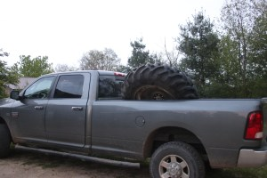Tractor tire in truck