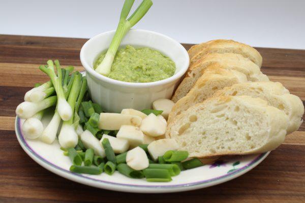 Garlic Scape Pesto with hakurei turnips and Nebuka Scalions