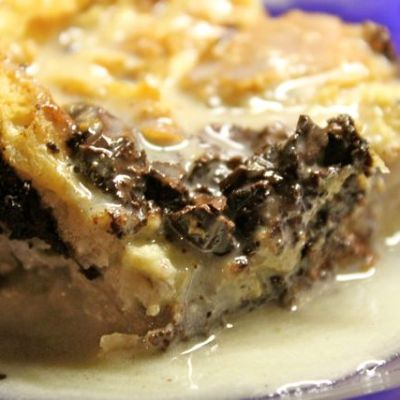 Chunky Chocolate Bread Pudding w/White Chocolate Brandy Sauce