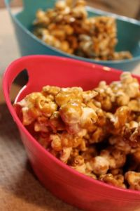 Pink bowl of caramel corn