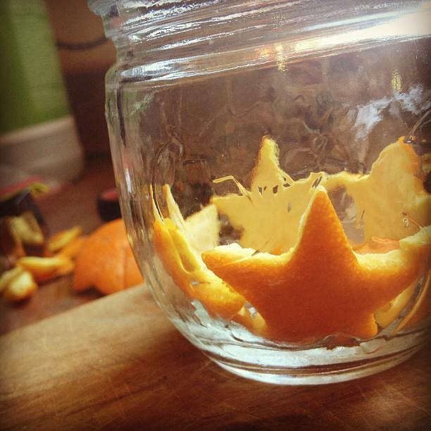 Orange stars lining mason jar