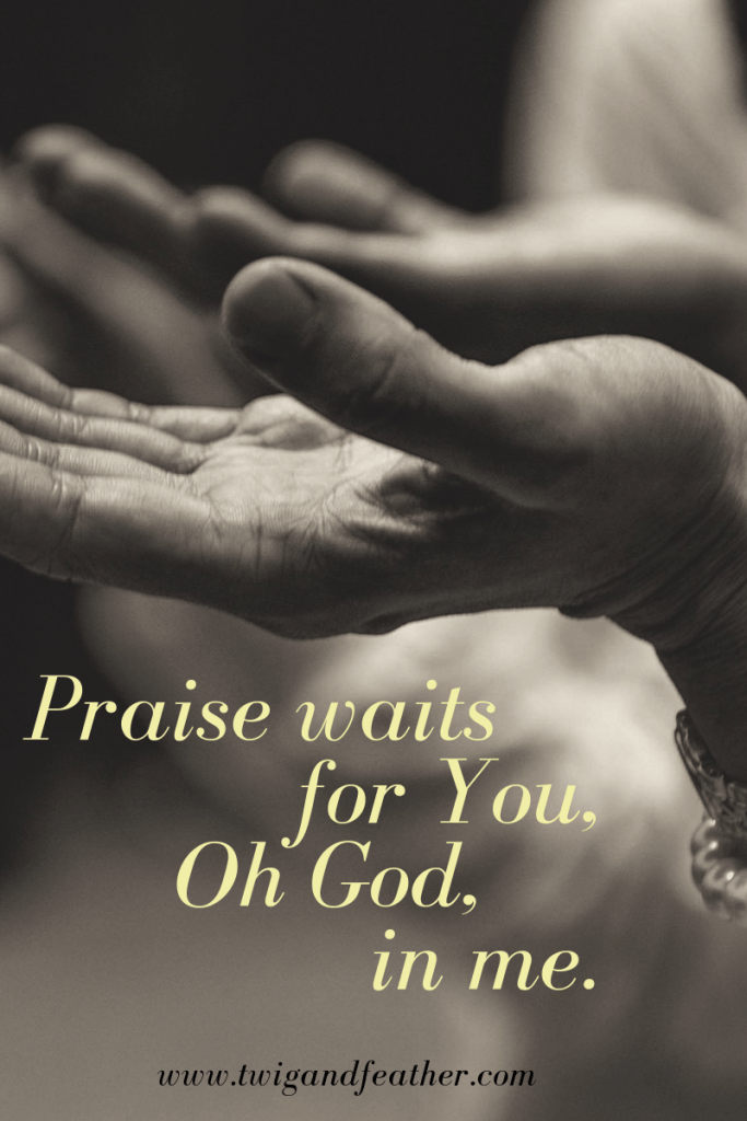 """Uplifted hands and the words, """"Praise waits for You, Oh God, in me."""