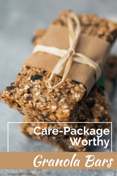Wrapped granola bars with parchment and twine