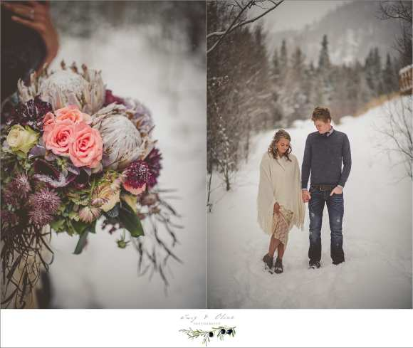 rustic winter engagement session