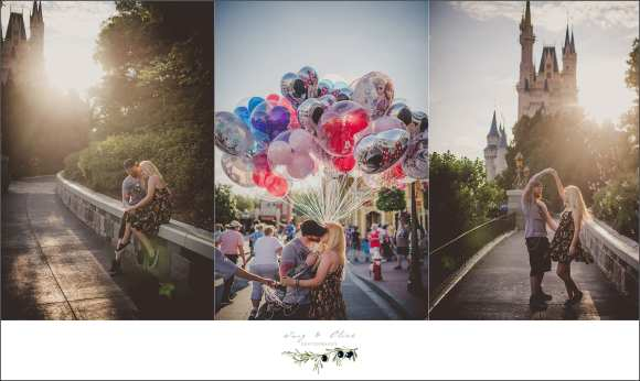 Walt Disney World, Magic Kingdom, Honeymoon session, happiest place on earth, balloons, Mickey Mouse, Walt Disney, Disney, happy couples, Florida Disney backdrop, amazing couples, Twig and Olive photography honeymoon session