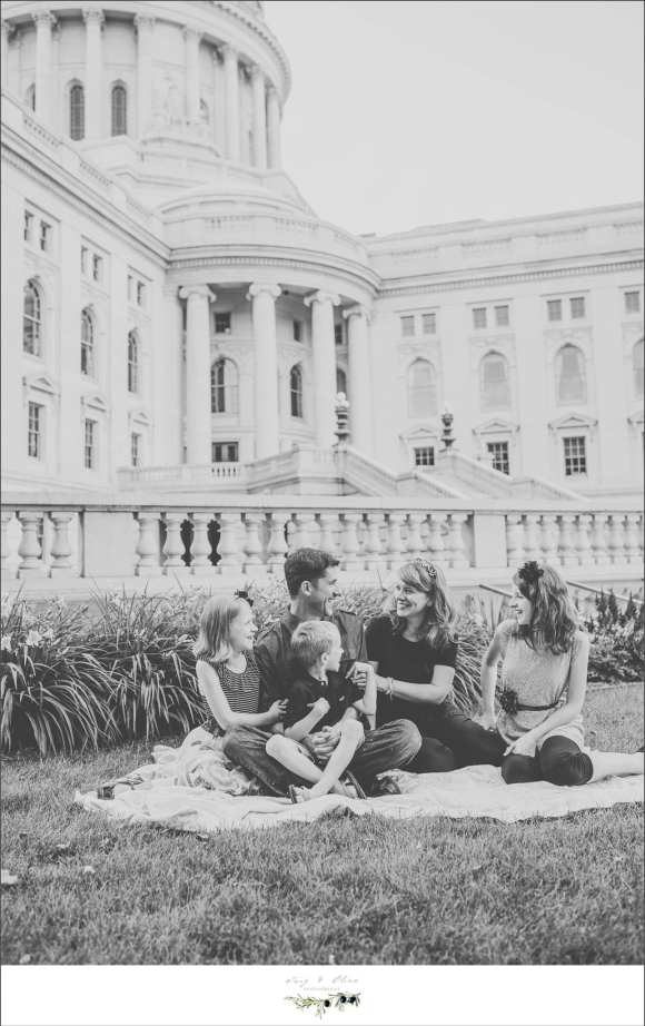 Twig and olive photography, black and white photography, children and families, family sessions, children sessions, capitol building, madison in summer, capitol backdrop, siblings, brothers sisters, happy families, happy couples, iconic classic backdrop, dane county families, Twig and Olive photography family sessions