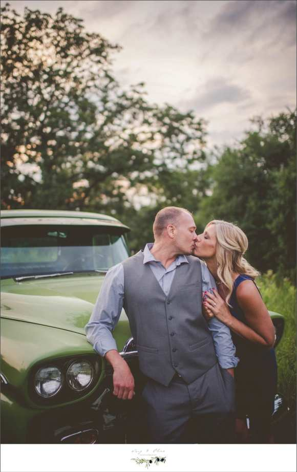 happy couple, engagement sessions, green truck, rustic, vintage, Rustic Manor, Dellafield WI, engagement sessions, well I'll be a son of a, happy couple, great couple, best wishes