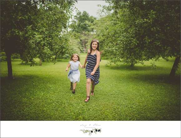 fun families, sisters, trees, orchards, greenery