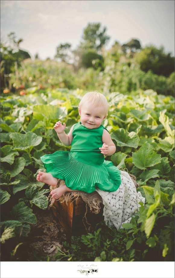 baby, green dress